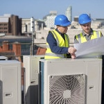 air conditioning installation on rooftop